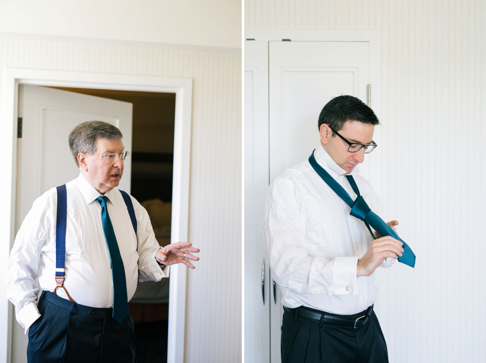 father of the groom and groom putting on matching ties while getting ready at Renaissance Hotel
