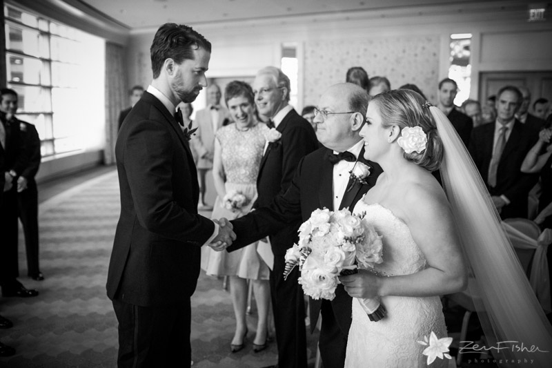 Four Seasons Boston Wedding, Wedding Ceremony, Bride and Groom, Father giving away the Bride