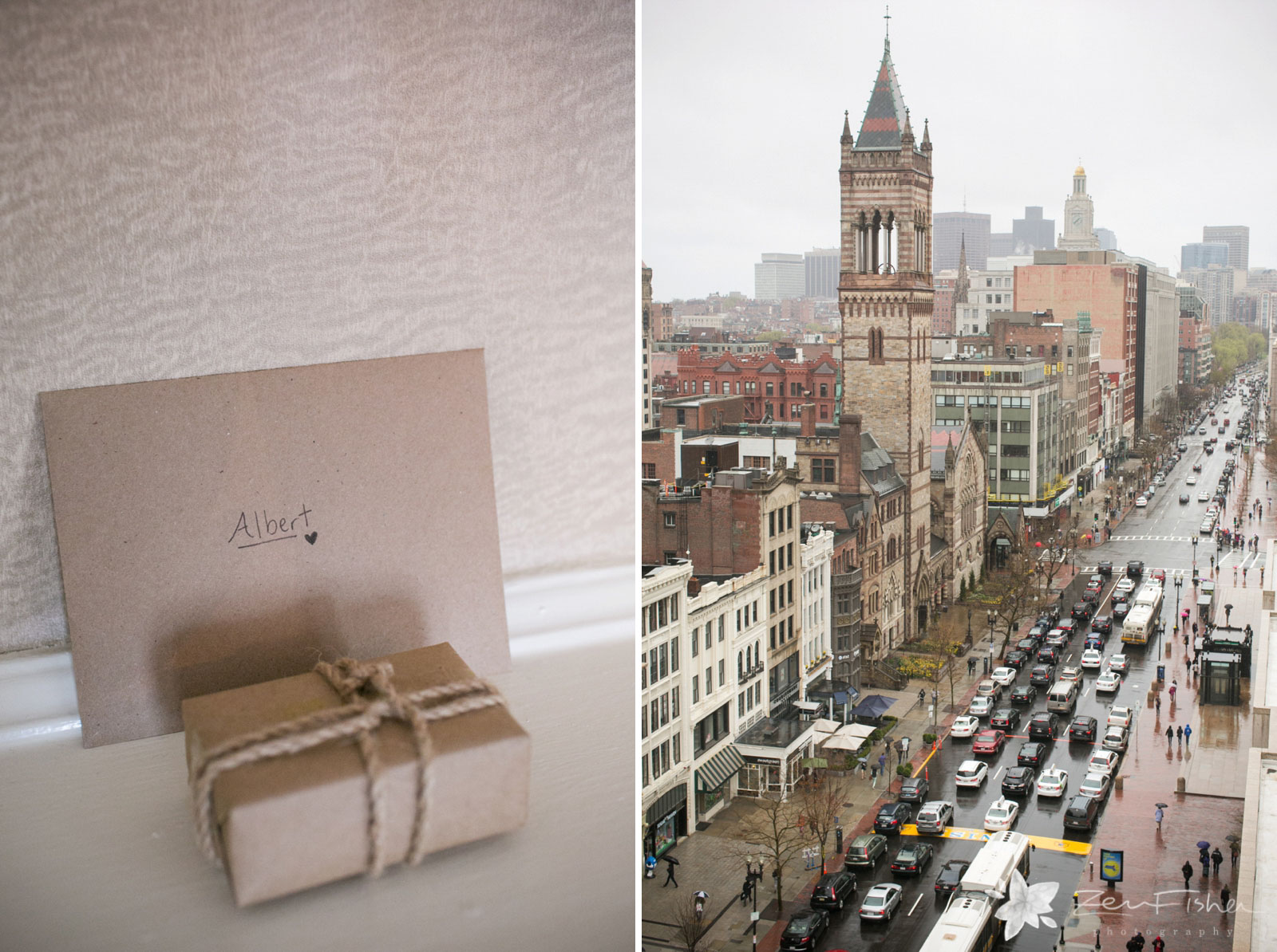 Bride's gift to the groom, and the view from the Lenox hotel looking down on rainy Boylston Street.