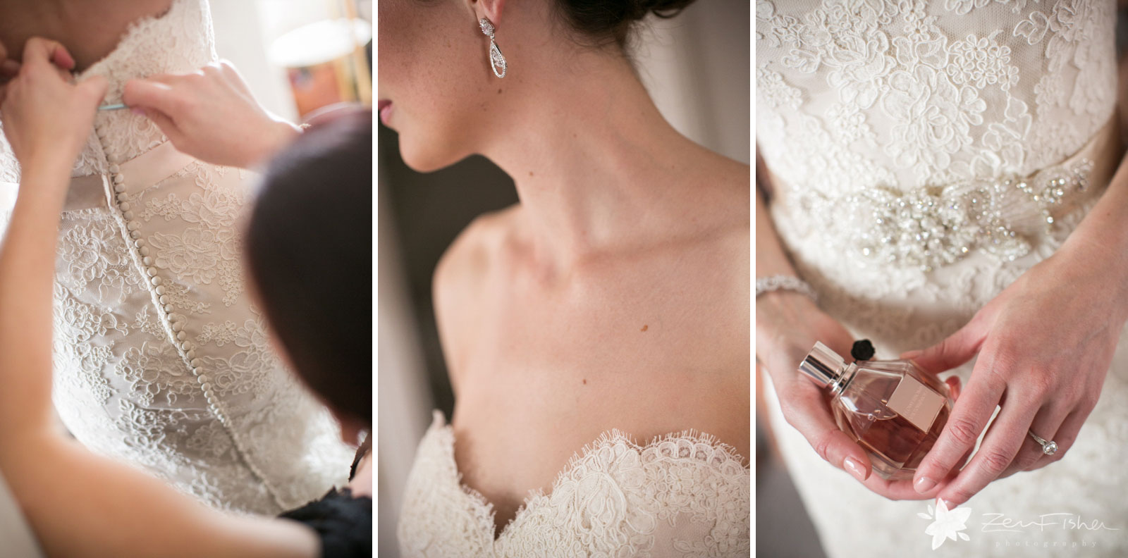 Details of the bride getting ready, the beads and lace of her dress, crystal earrings, and perfume.