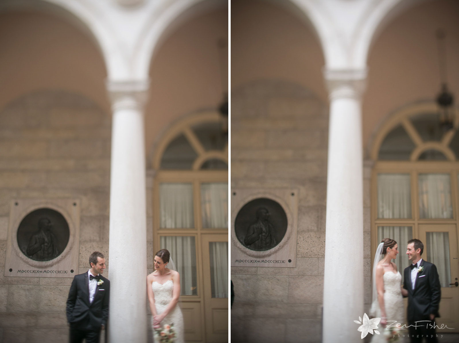 Playful bride and groom portraits looking at each other in courtyard at Boston Public Library.