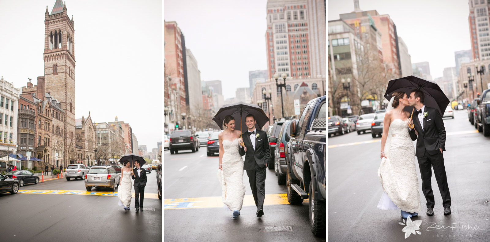 Bride and groom first look walking on Boylston street on a rainy day, kissing under umbrella.