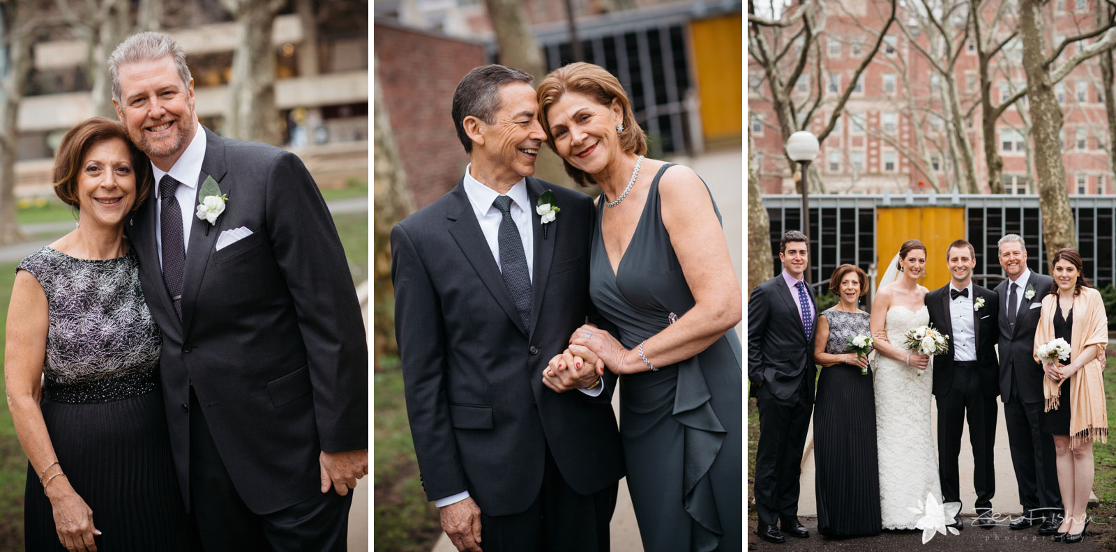 Casual and posed intimate family portraits in front of the church after the ceremony, natural light.