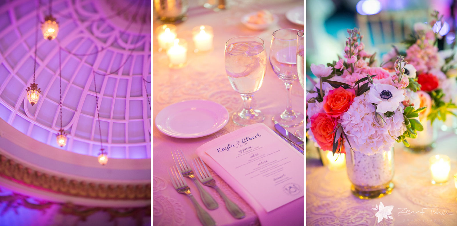 Details of dome ceiling, antique lanterns, place settings, and centerpieces with flowers and candles