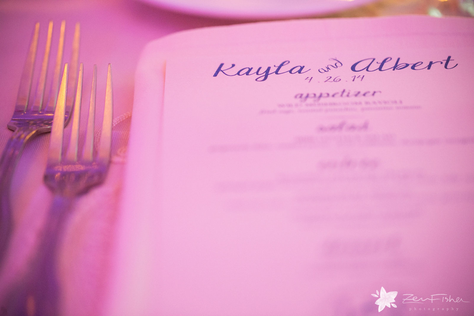 Close up of personalized menu at place setting, Kayla and Albert, April 26, 2014