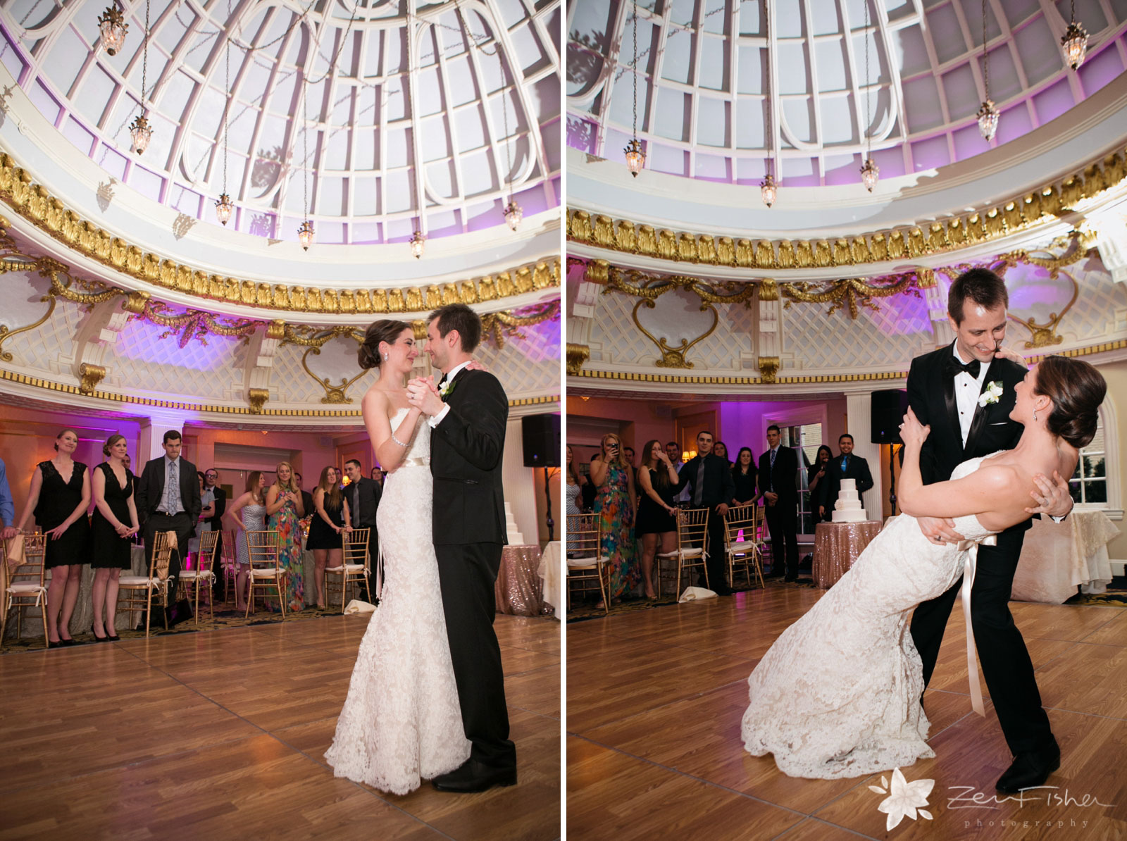 Bride and groom share their first dance at reception hall, groom holds and dips bride.