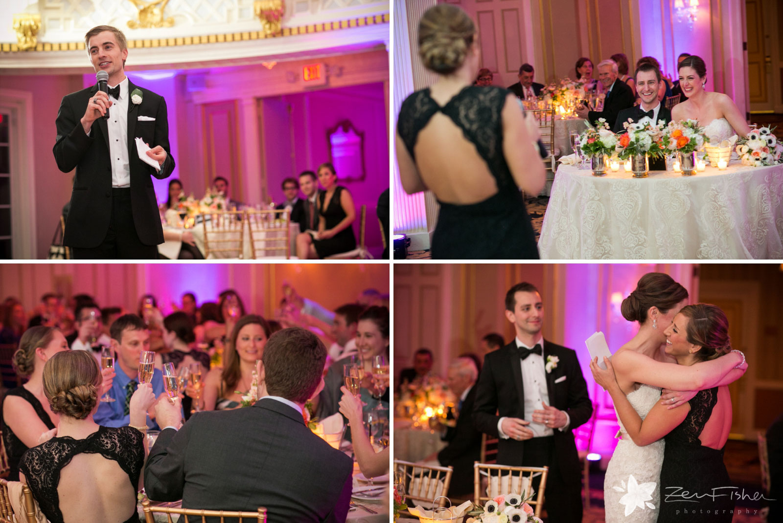 Best man and maid of honor make their toasts, bride and groom laugh and embrace maid of honor.