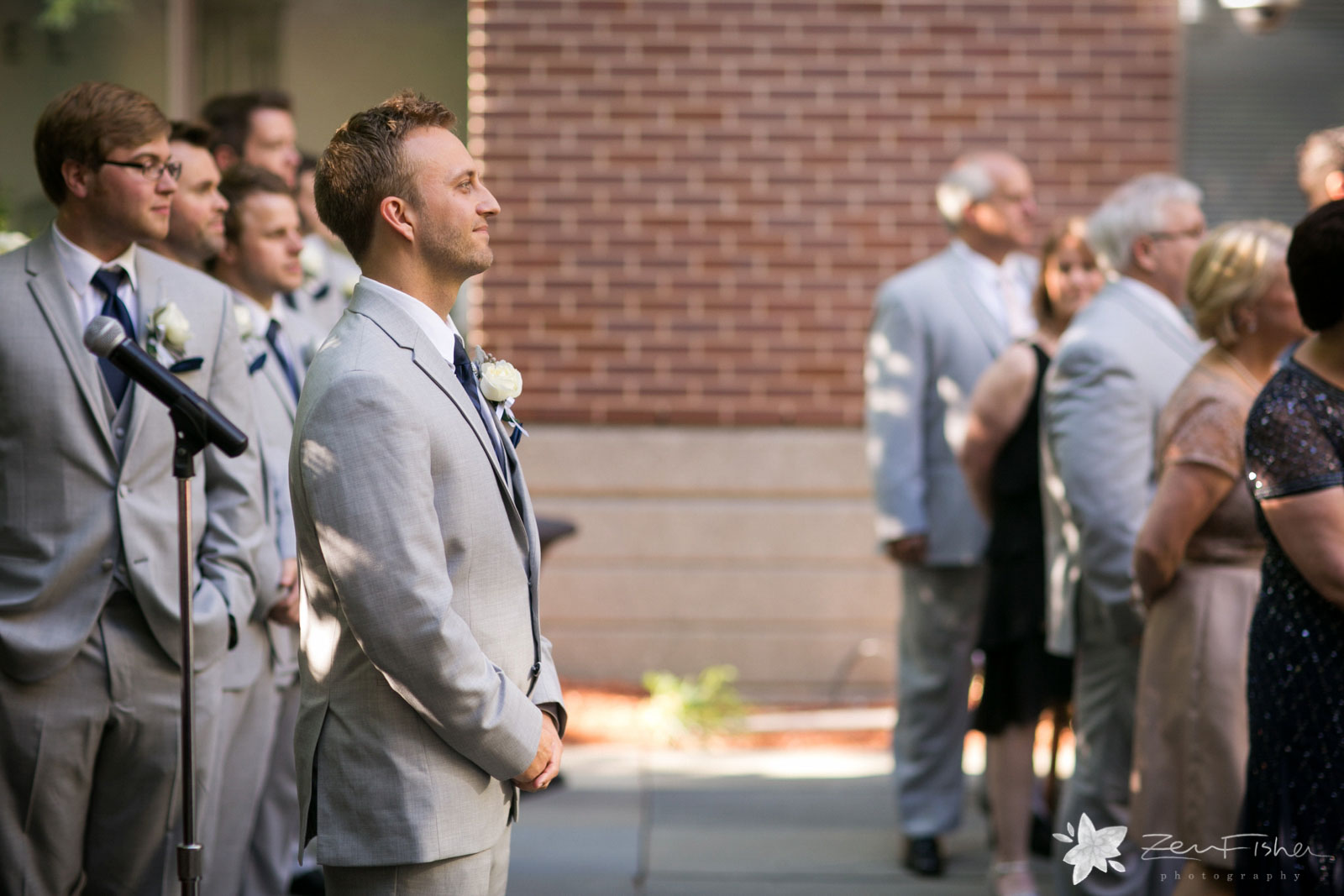 Liberty Hotel Boston wedding, Boston wedding photography, groom's reaction to bride during ceremony