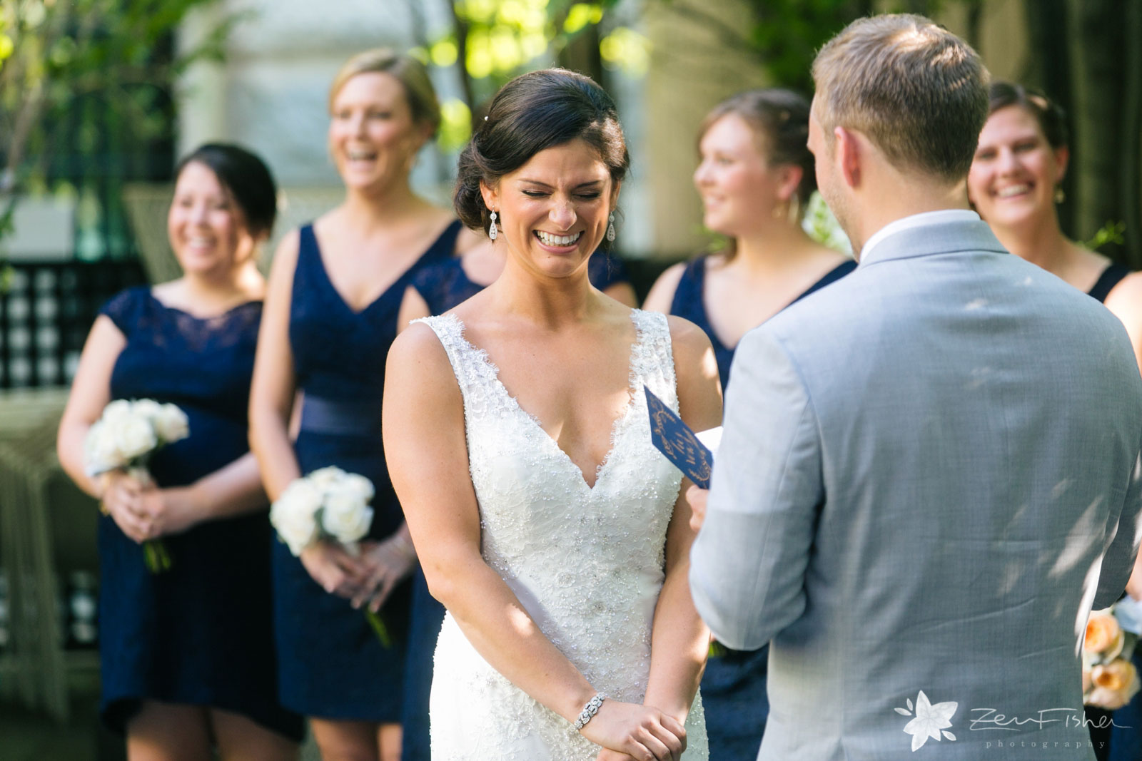 Liberty Hotel Boston wedding, Boston wedding photography, bride's reaction to groom during ceremony