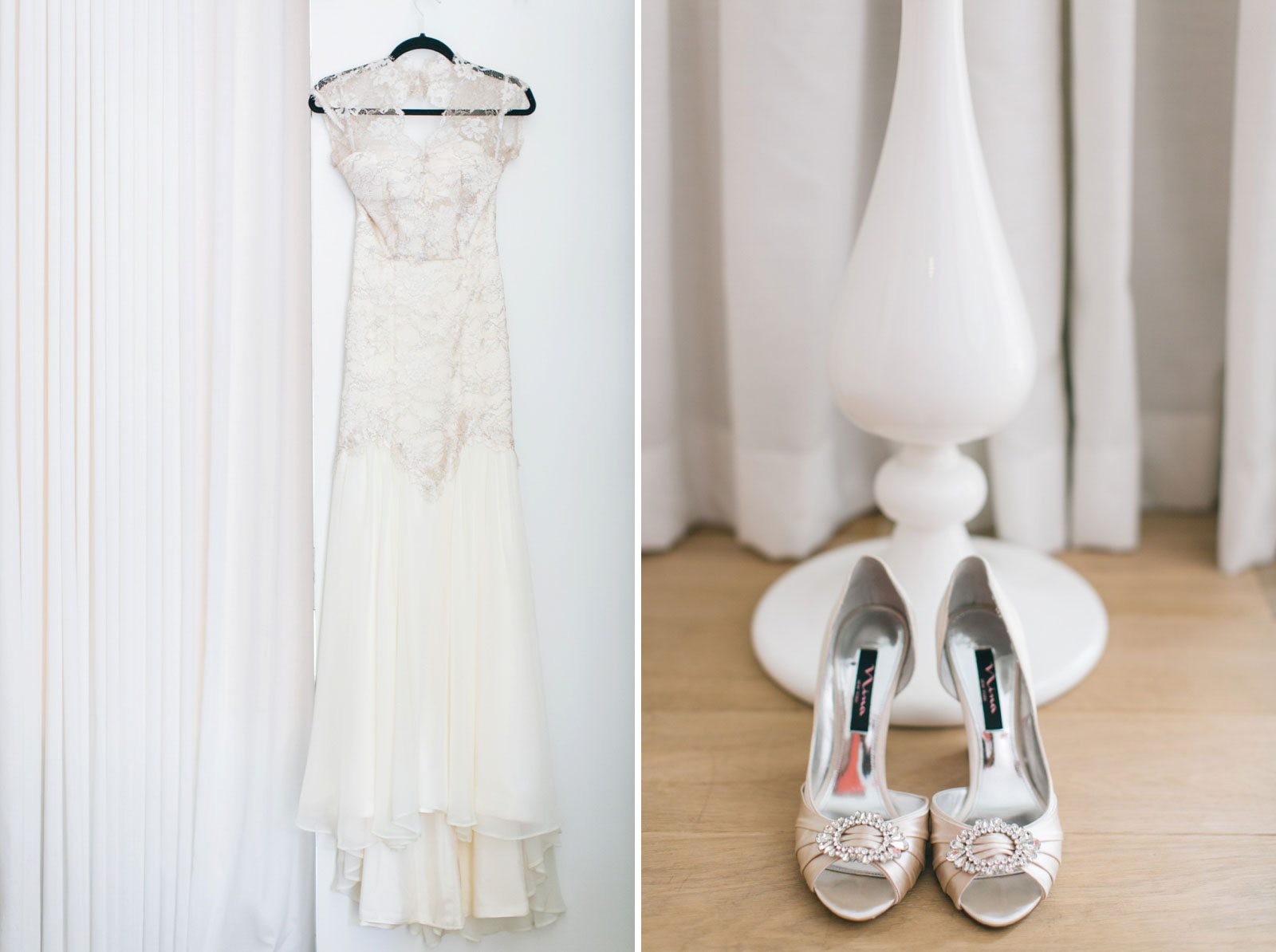 bride's simple lace wedding dress hanging up in bridal suite, detail shot of Nina bridal shoes