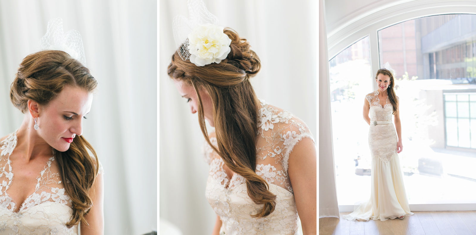 portraits of bride while getting ready at ames hotel vintage-inspired bridal look with birdcage veil