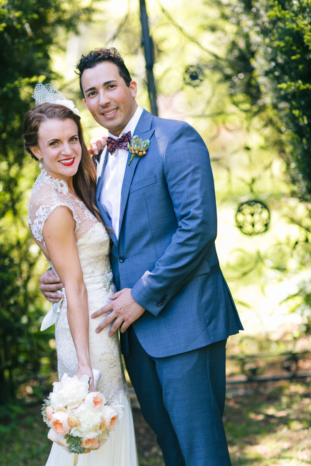 portrait of vintage-inspired bride and groom during first look at Mass Audubon's wildlife sanctuary