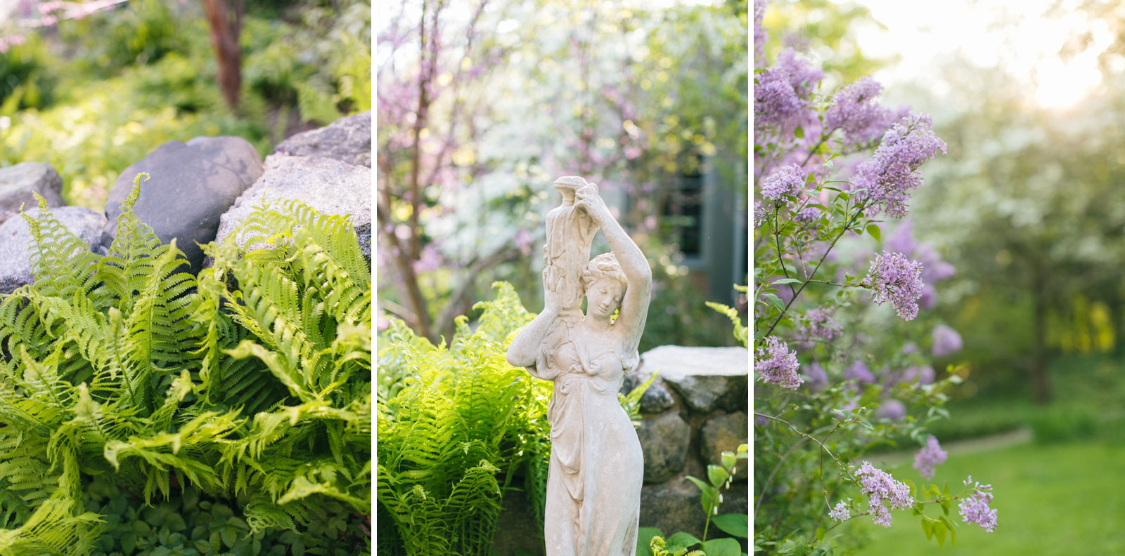 details of ferns and lilacs and statues in the gardens at Mass Audubon's wildlife sanctuary