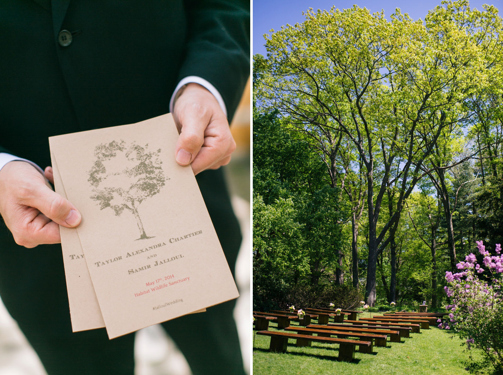 usher holding out natural paper program, ceremony set up in the garden at Mass Audubon wedding