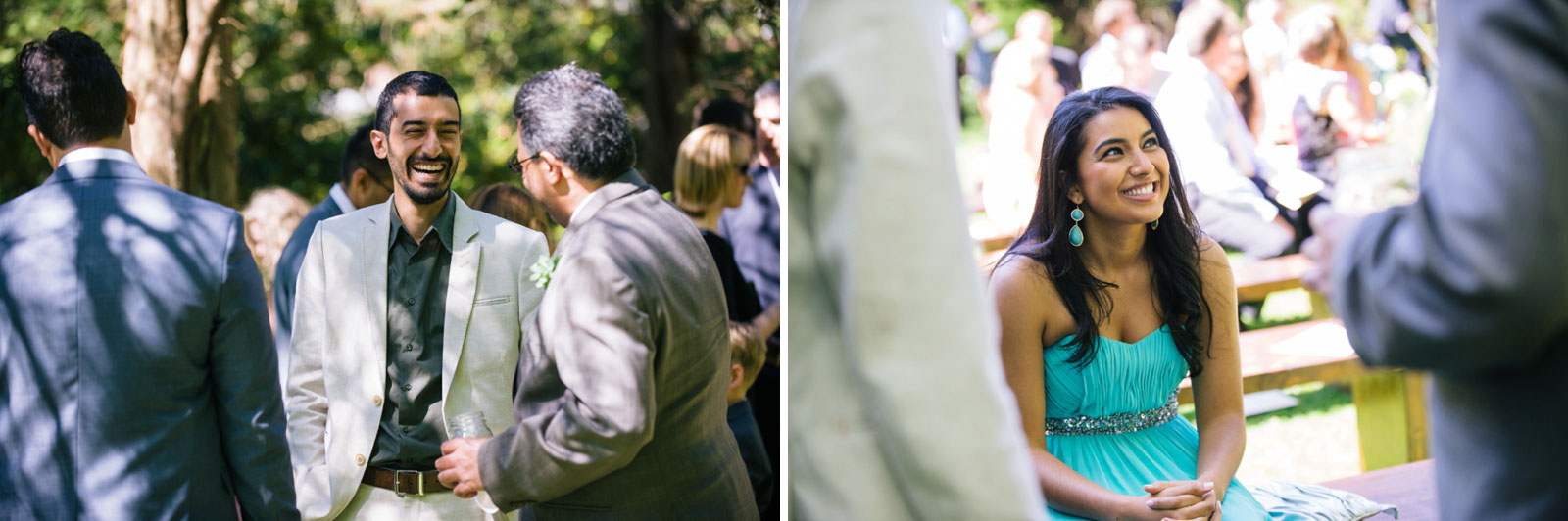 guests arriving and chatting at garden wedding ceremony at Mass Audubon's wildlife sanctuary