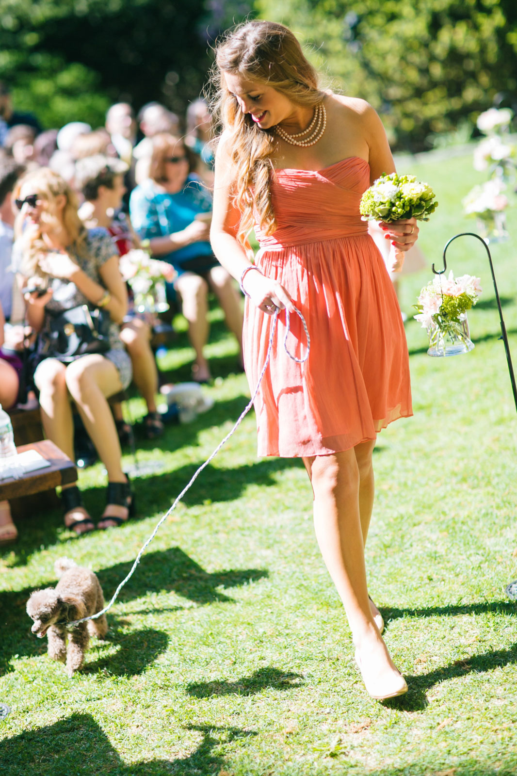 bridesmaid walking dog down the aisle at bright summer outdoor wedding ceremony in MA