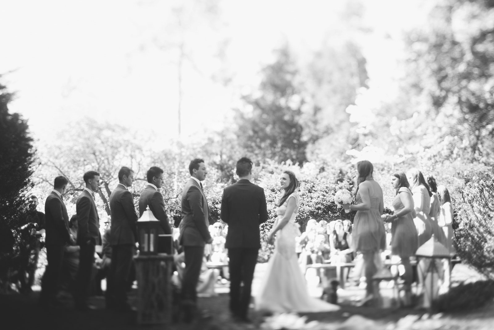 black and white shot of garden wedding ceremony from behind with tilt shift soft focus