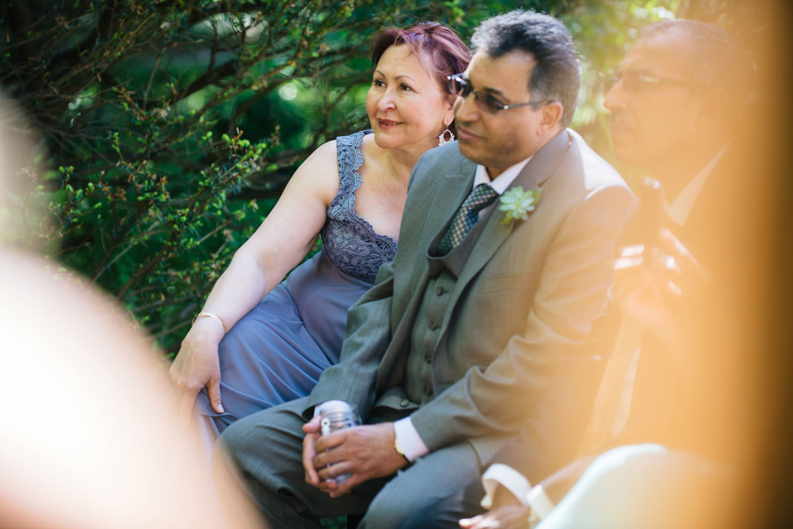 groom's parents reactions while watching wedding ceremony at wildlife sanctuary in Boston