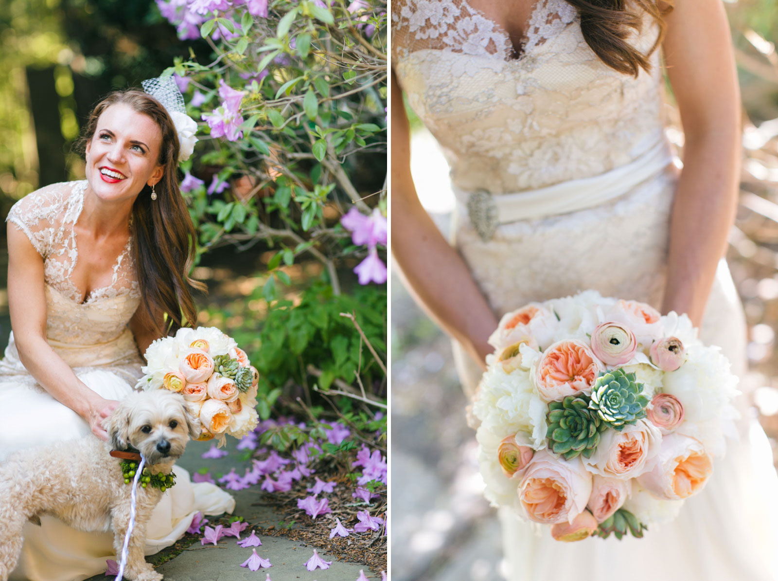 portrait of bride smiling and petting her dog, bouquet with light peach peonies and succulents
