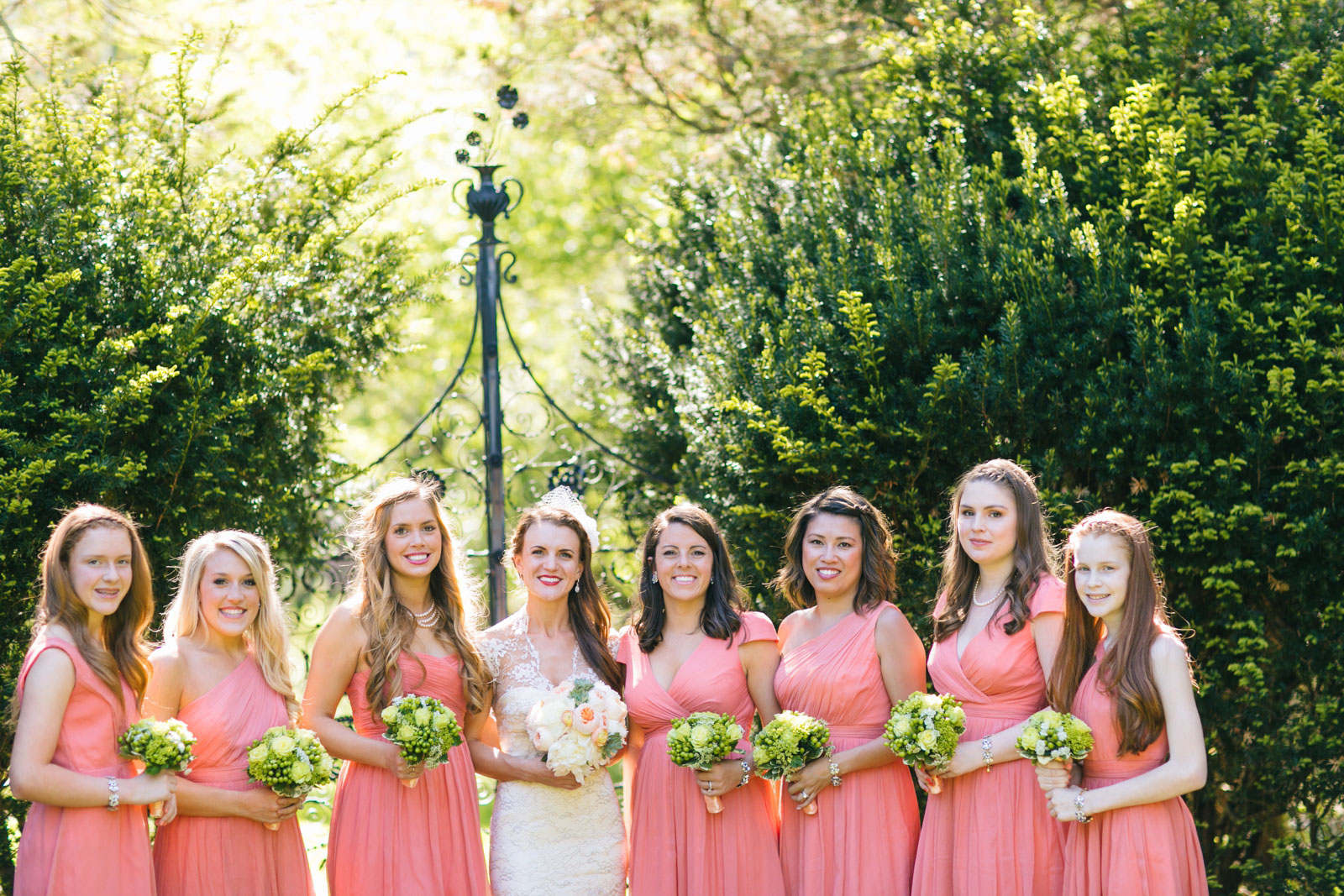 bridal party portraits at Mass Audubon Wildlife Sanctuary summer wedding with soft natural light