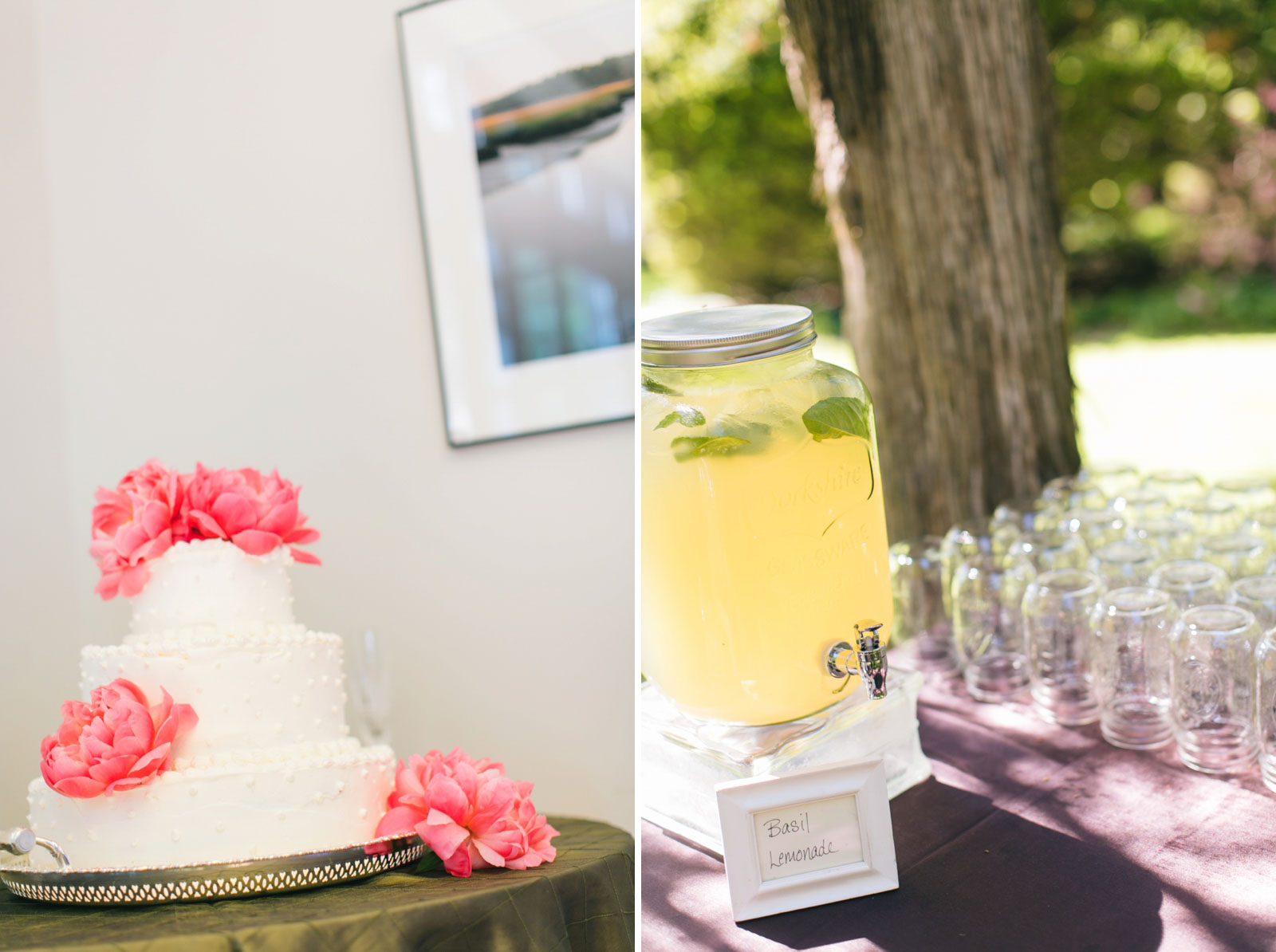 simple wedding cake with large pink peonies, basil lemonade in mason jars for guests to enjoy