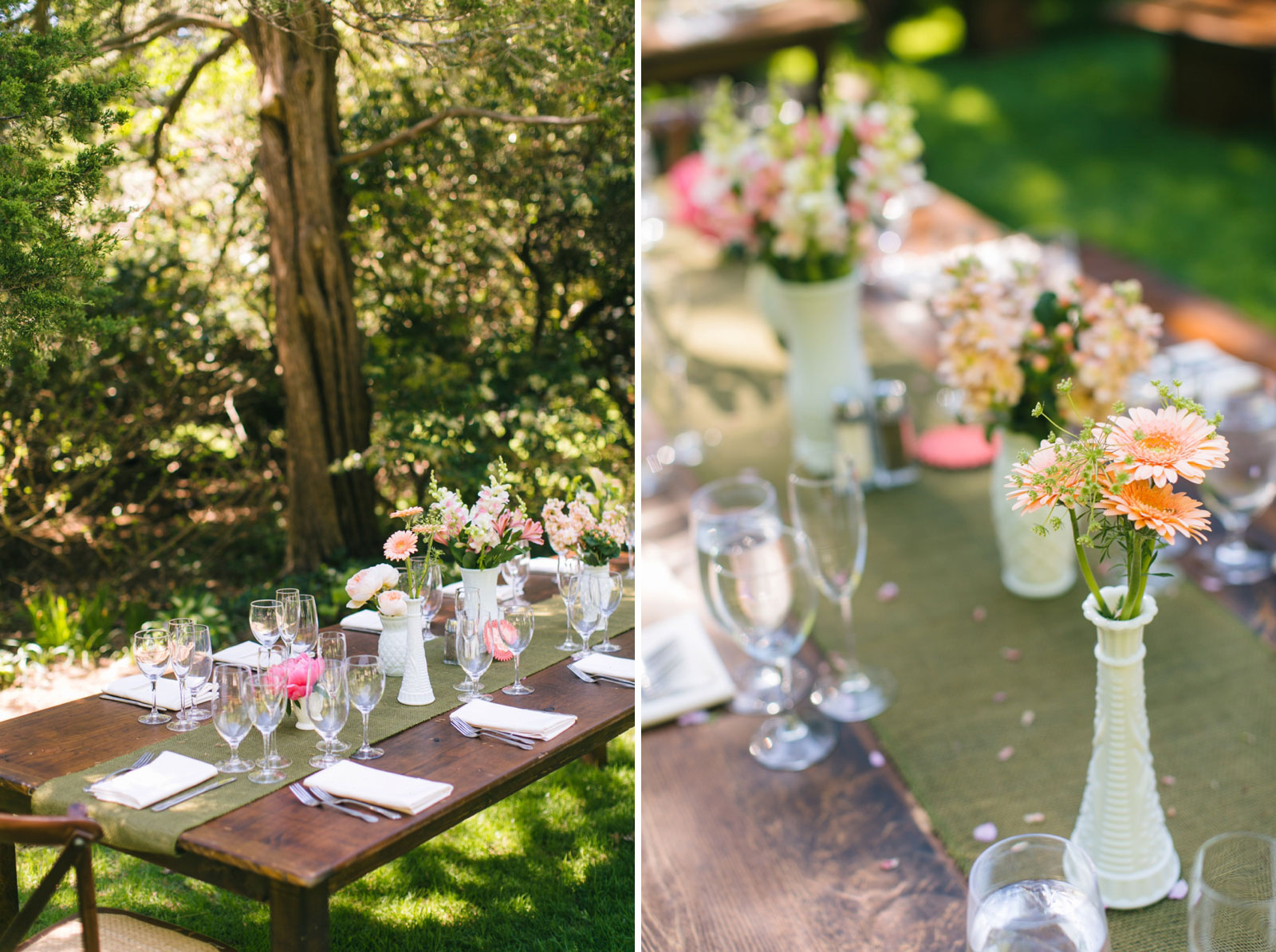 rustic tablescape decor with salmon pink and light peach florals in antique white glass bud vases