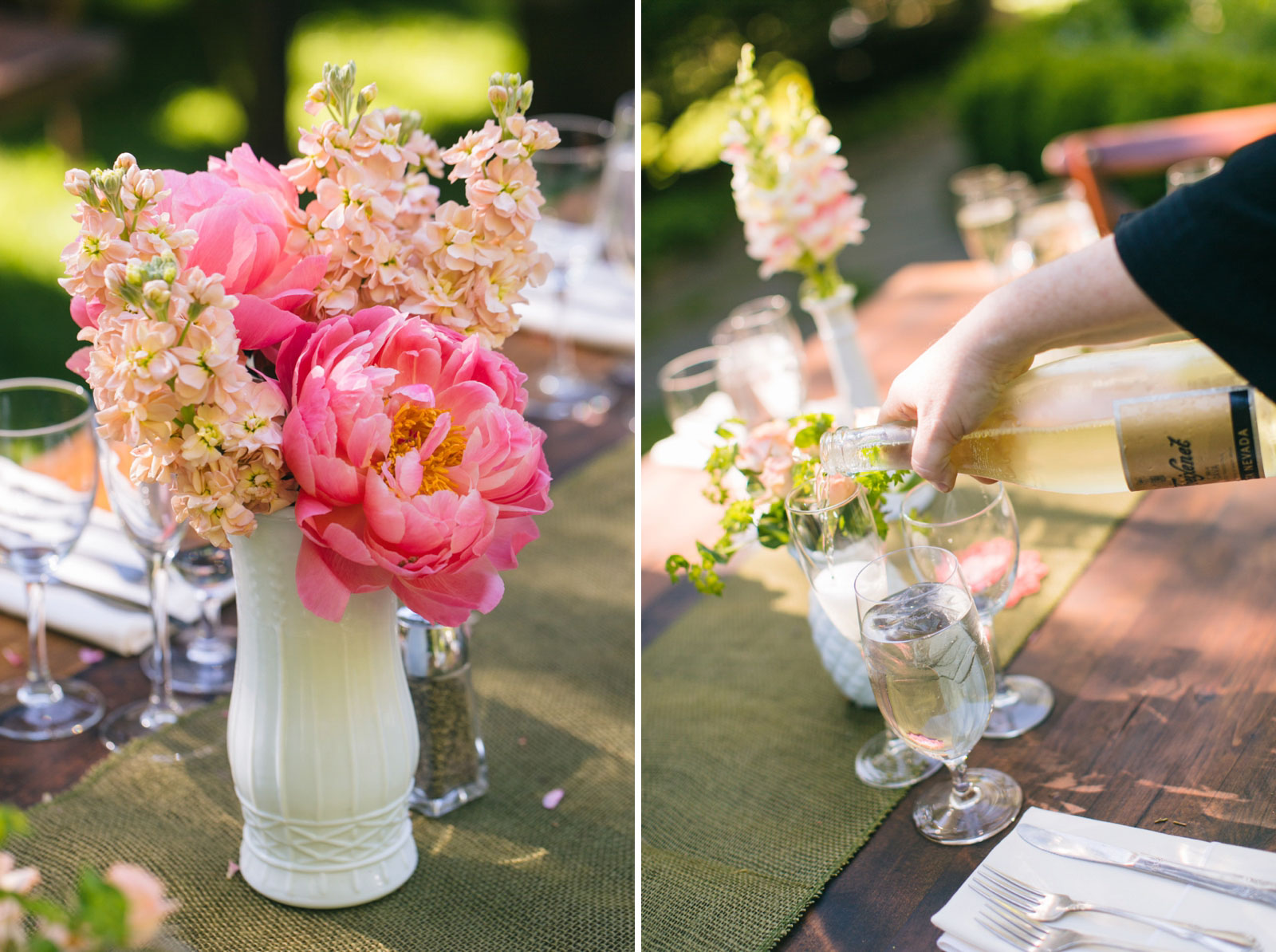 large pink peonies in white glass antique bud vases, server pouring champagne for guests