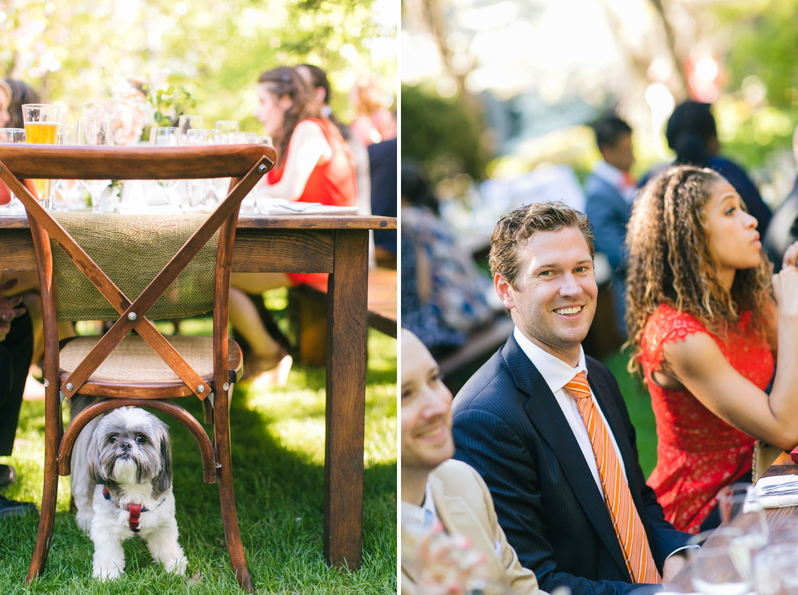 guests finding their seats at outdoor reception at dog-friendly wedding venue in Boston