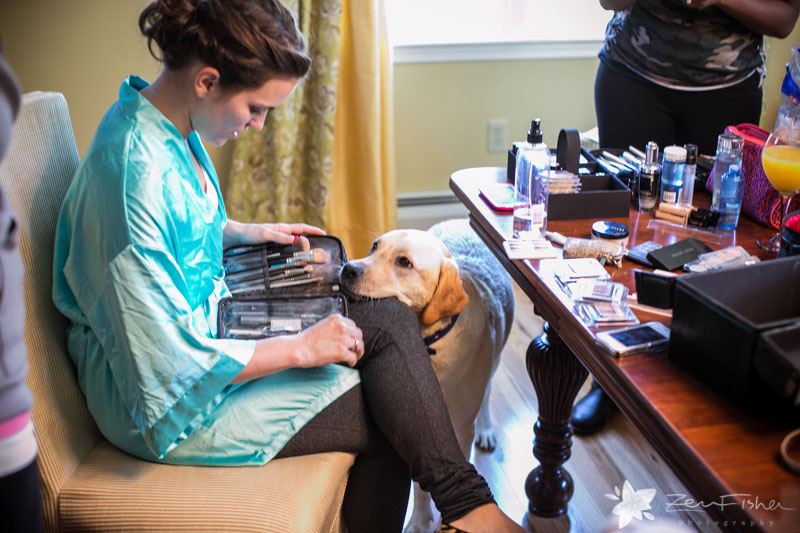 Massachusetts Barn Wedding, Bride Getting Ready, Bridal Makeup, Bridal Portraits, Dog of Honor