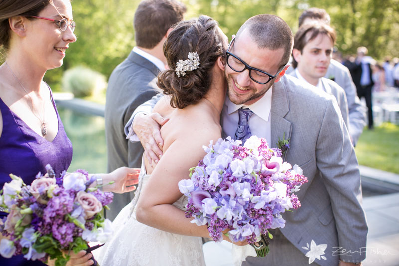 Massachusetts Barn Wedding, Wedding Ceremony, Wedding Guests Congratulate the Bride, Bridal Bouquet