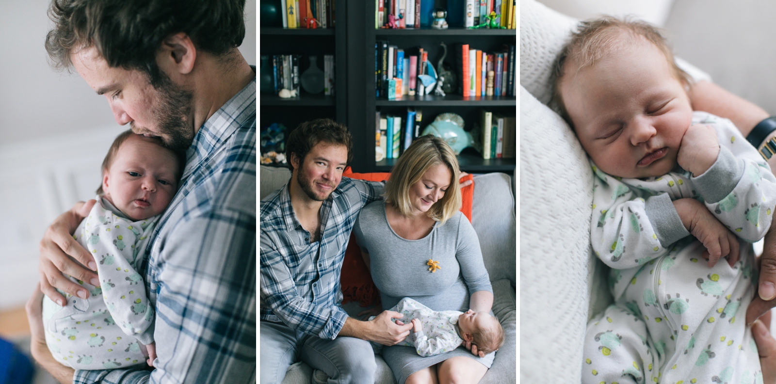 Intimate family portraits with newborn in their home with beautiful natural light from window