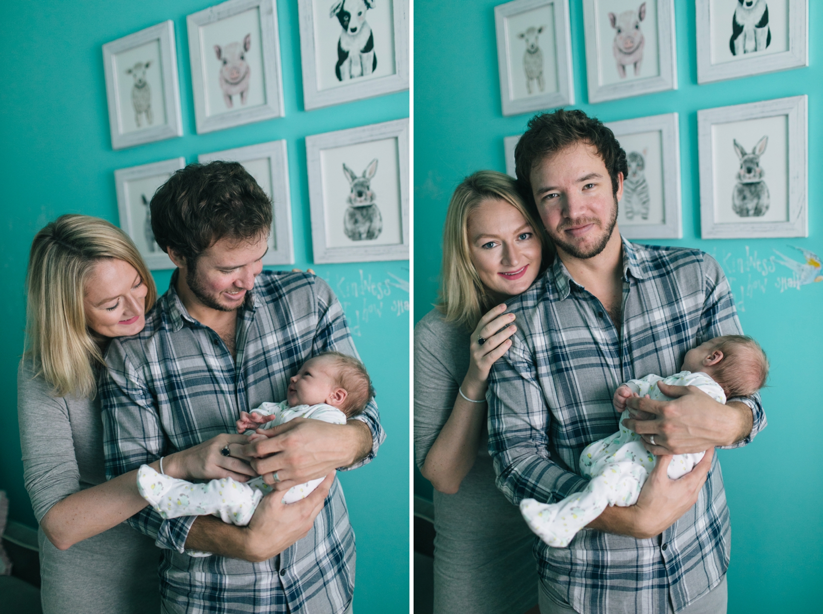Casual fun family portraits with parents holding newborn in nursery at their home