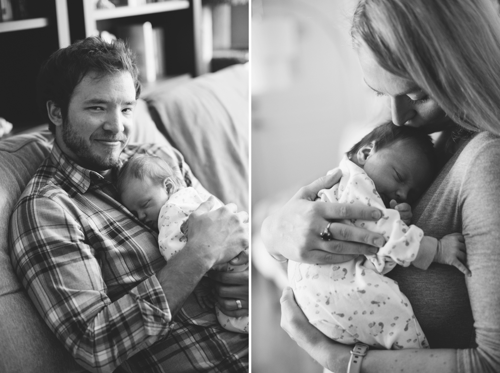 Intimate black and white at-home family portraits, new parents holding newborn