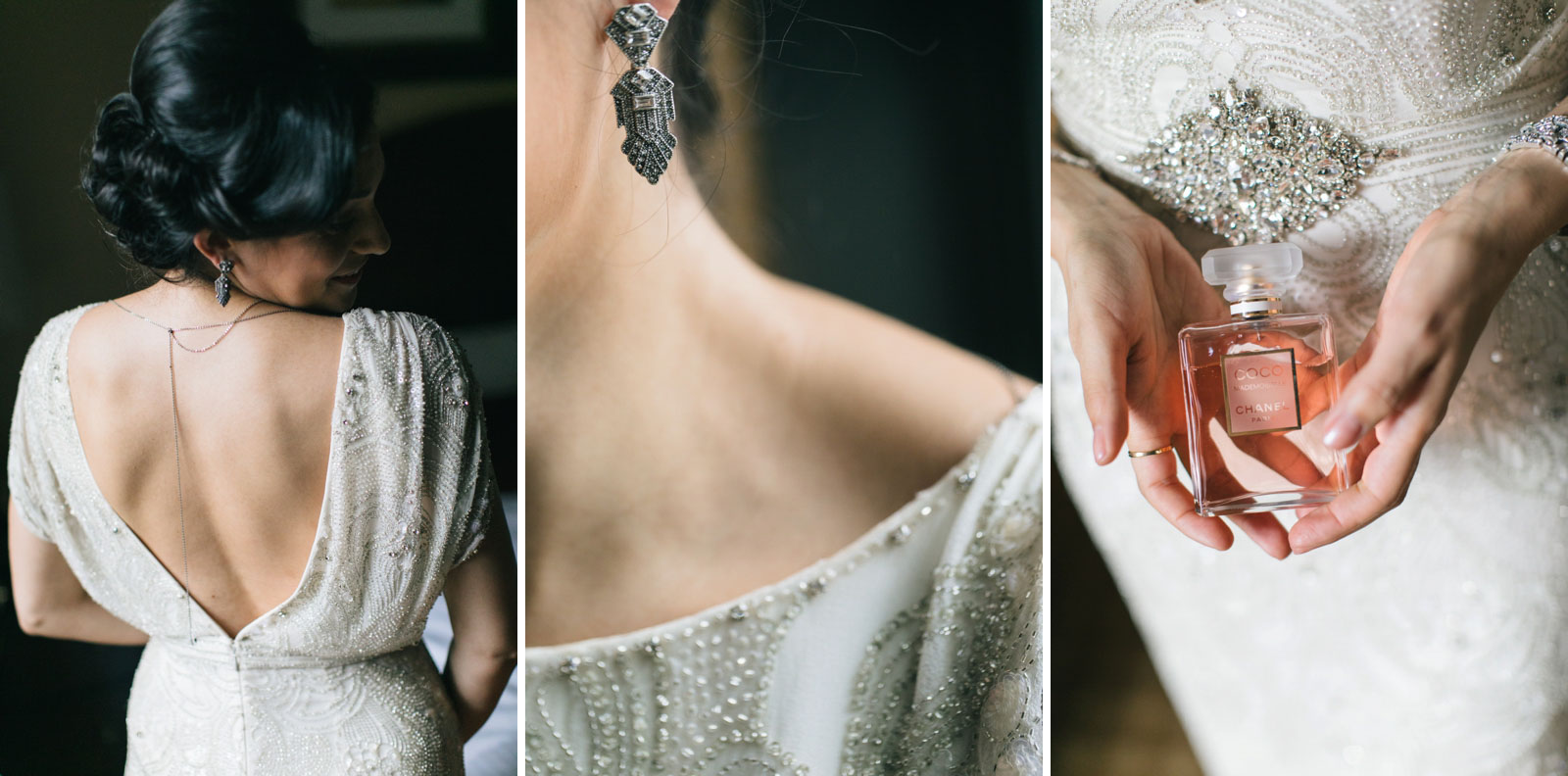 details of bride's backless vintage beaded dress, art deco inspired earrings, and perfume bottle