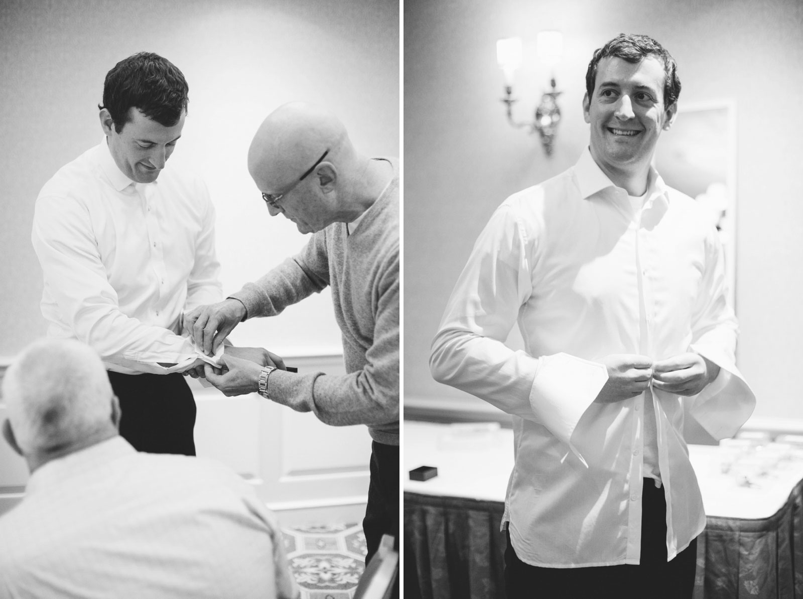 father of the groom helping groom with cufflinks, black and white candid shot of groom getting ready