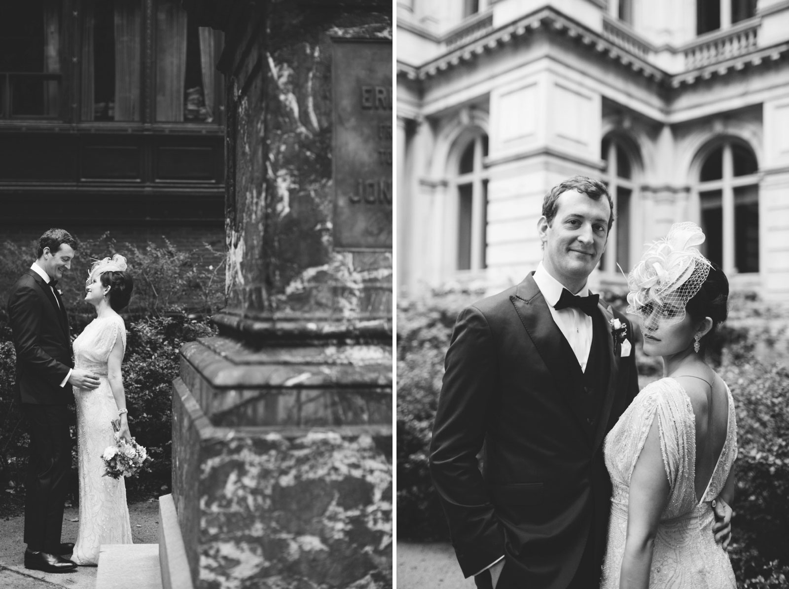 classic black and white vintage-inspired bride and groom portraits with natural light