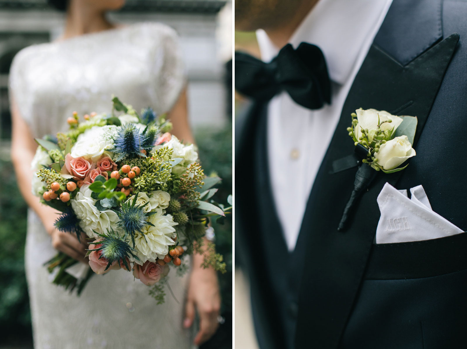close up of textured bouquet with muted cool tones and groom's monogrammed pocket square