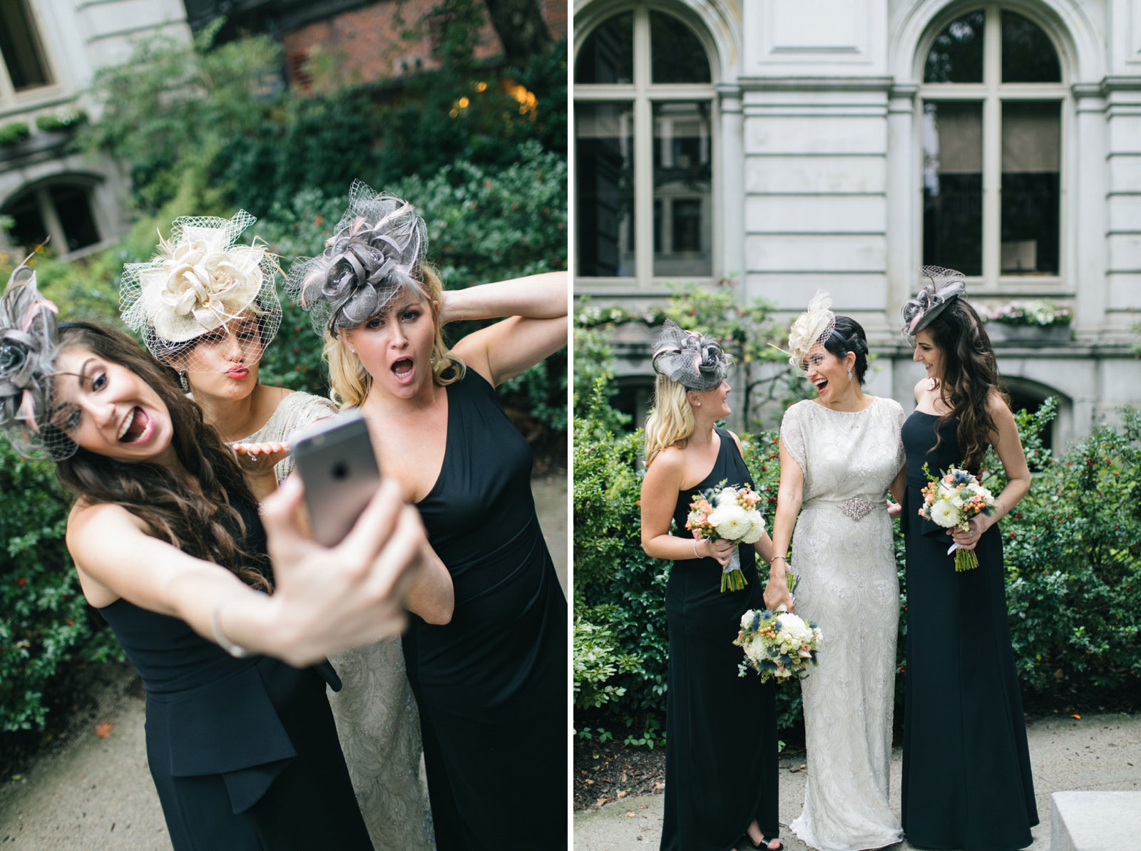 casual portraits of bridesmaids with fascinator hats, bride and bridesmaids take goofy selfie