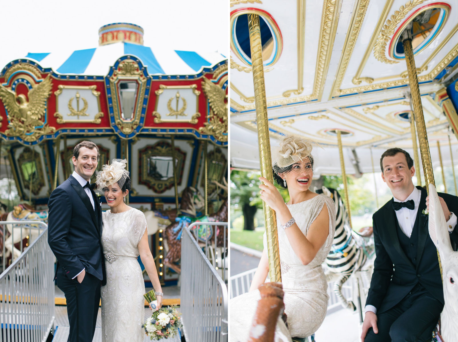 vintage bride and groom riding on the carousel at boston common during their portrait shoot