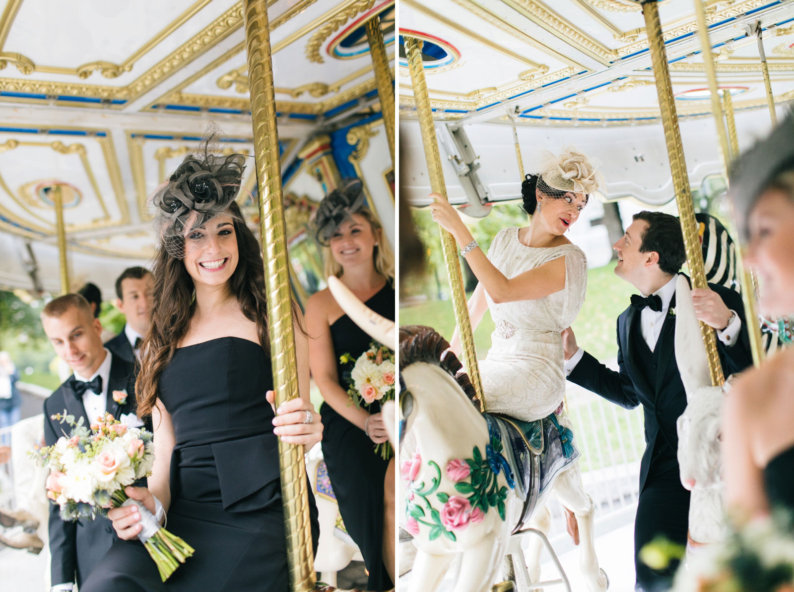Gatsby-inspired bridal party take a ride on a carousel at boston common during portrait session