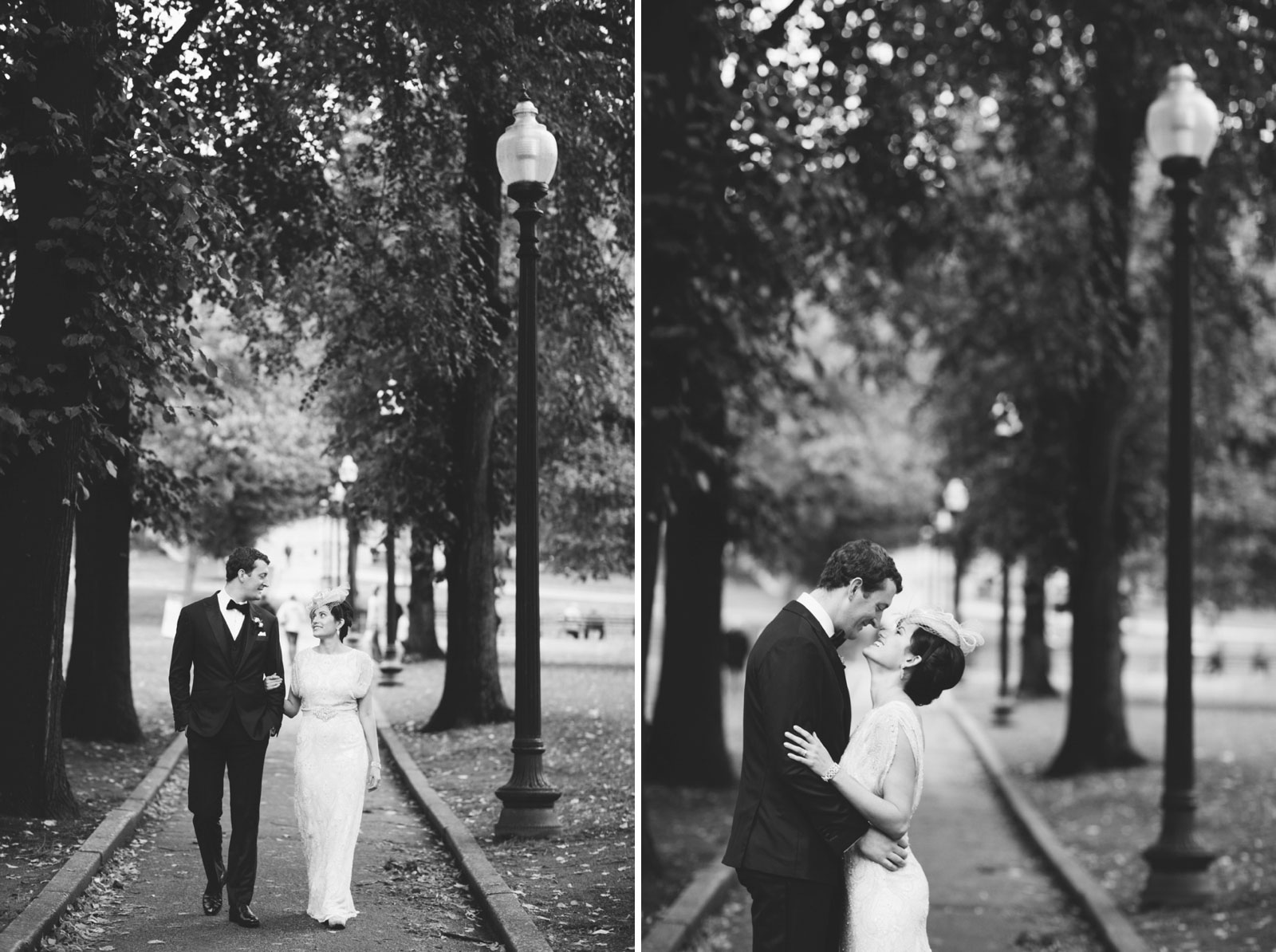 intimate black and white portraits of bride and groom walking through boston commons in the fall