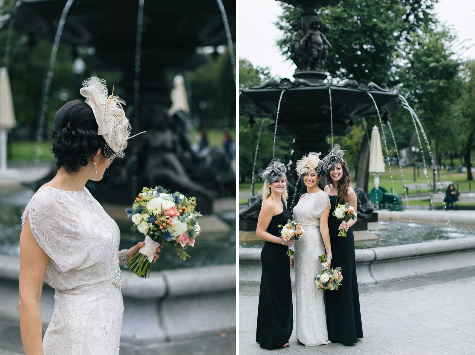 casual bridesmaid portrait in front of large fountain in boston common, vintage-inspired bridal look