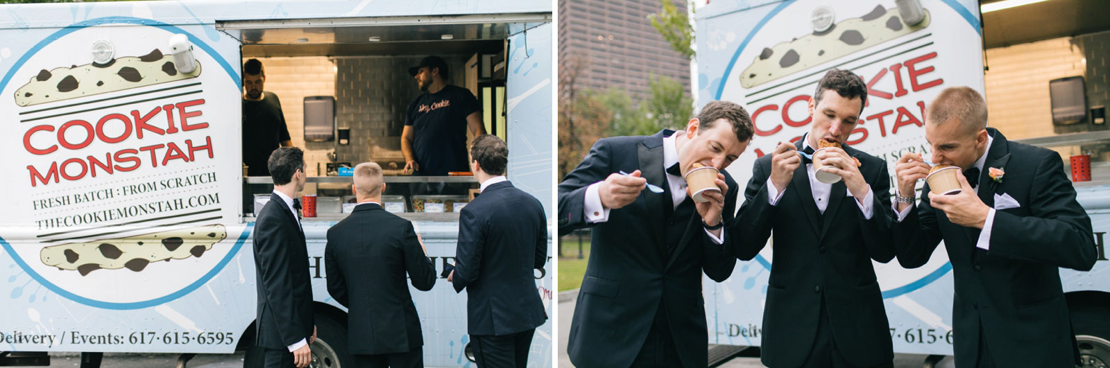 groomsmen stop at cookie monstah truck and eat ice cream sandwiches, goofy bridal party portraits