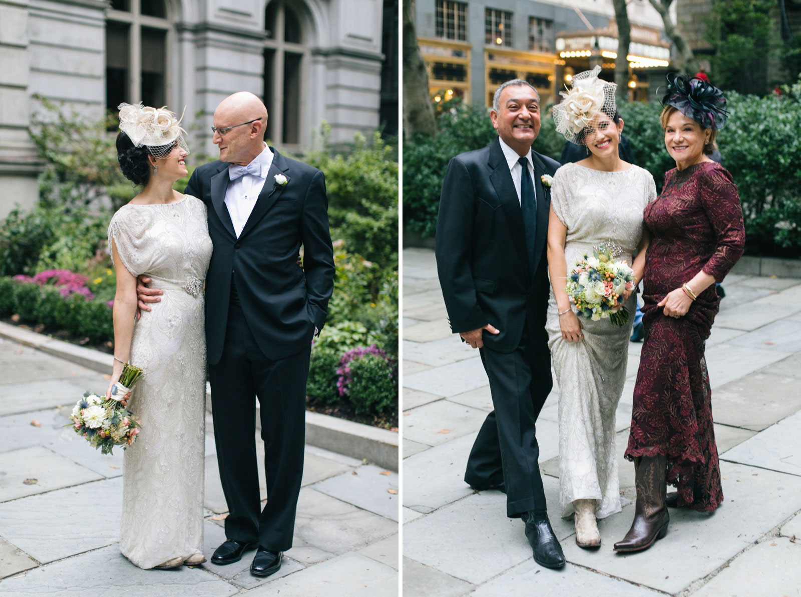 candid shot of bride smiling with her father, bride's family showing off cowboy boots