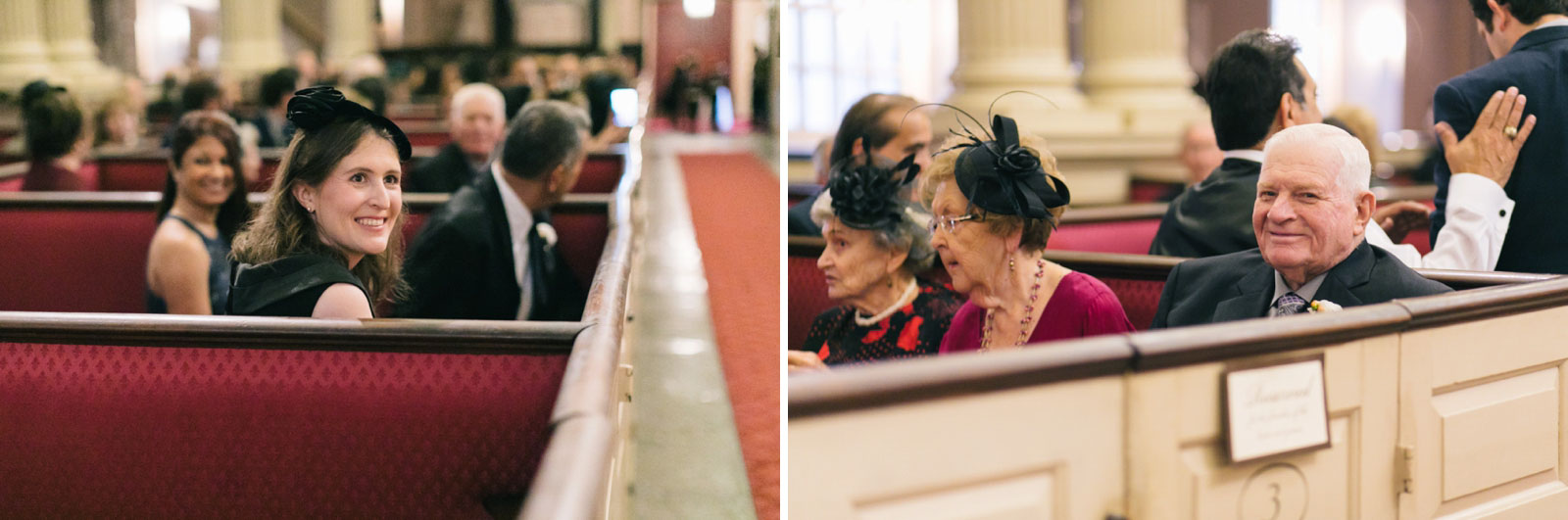 Wedding guests arrive and sit at red silk fabric pews at king's chapel waiting for ceremony to begin