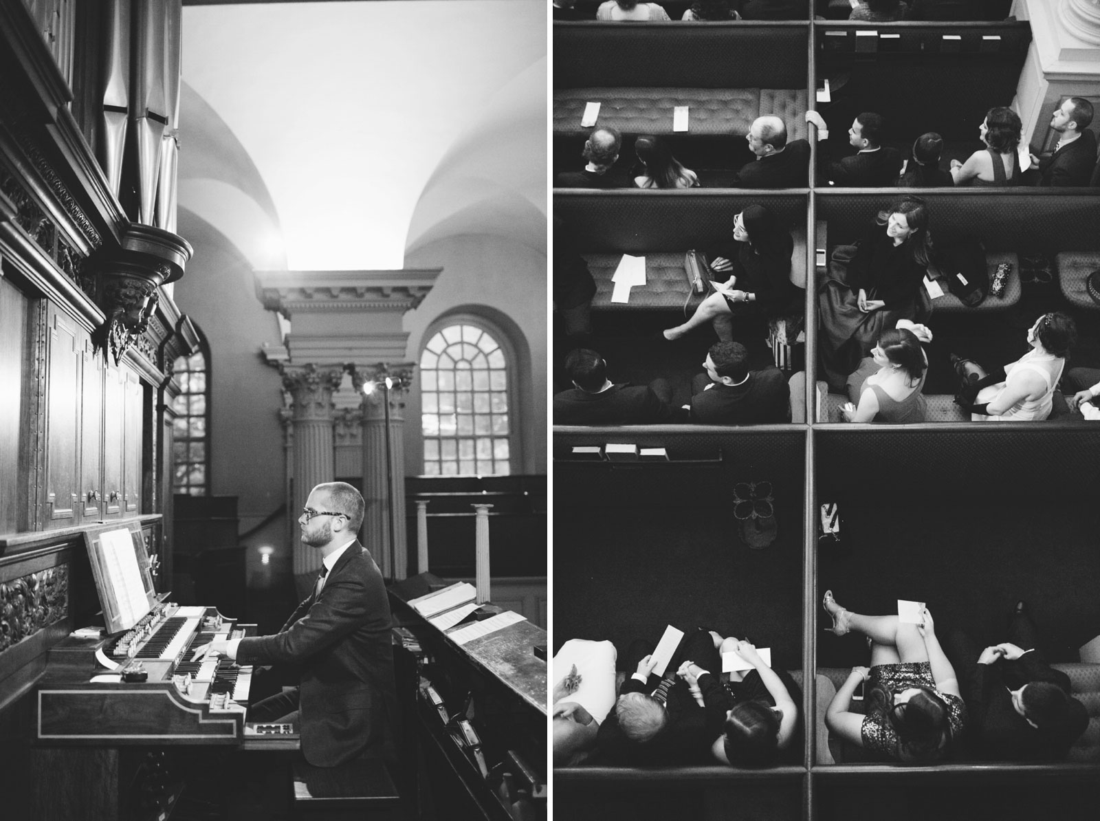 black and white shot of organist at King's Chapel and guests turning in their seats to watch bride