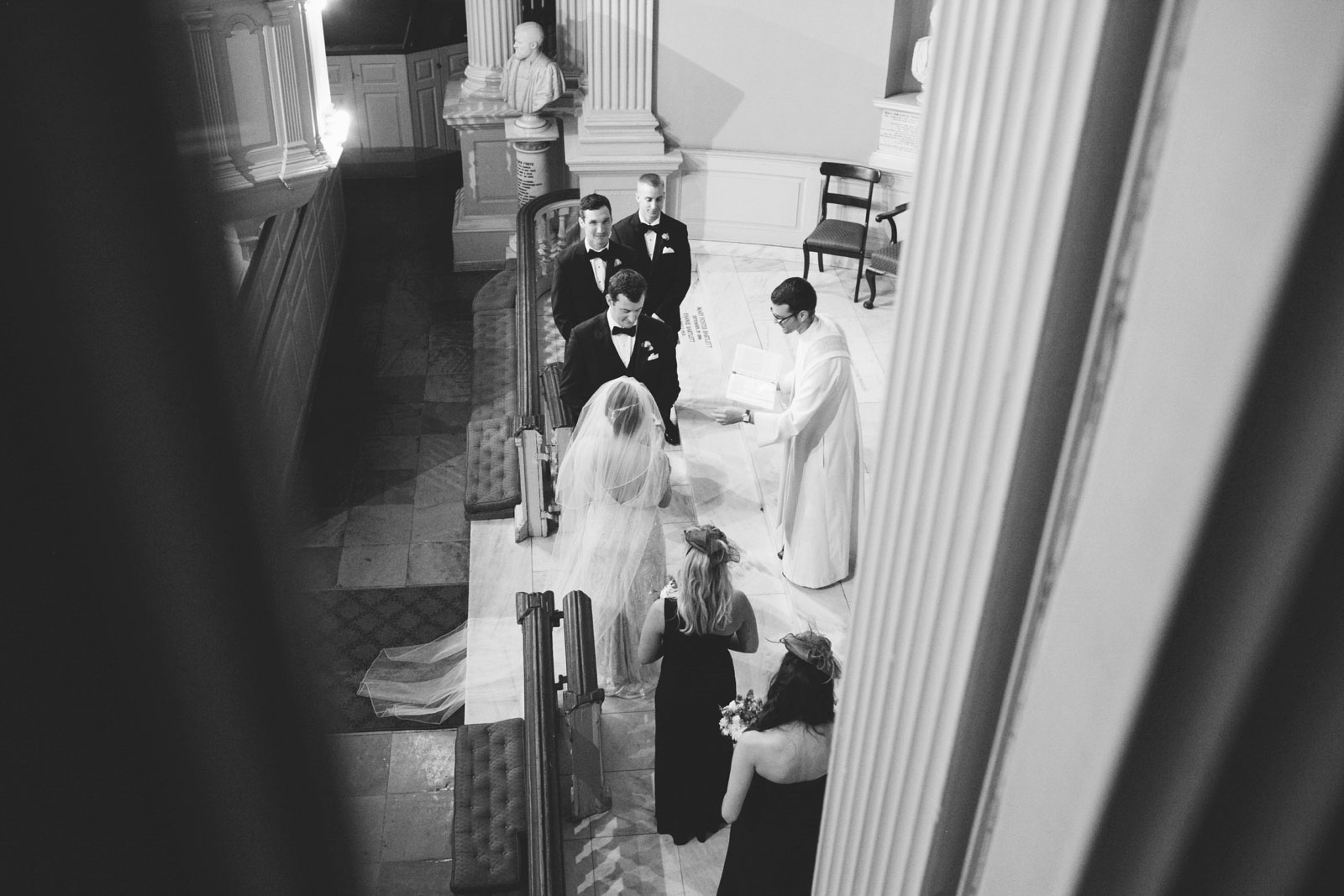 Black and white shot from above of 20s-inspired wedding ceremony in Boston with art-deco details