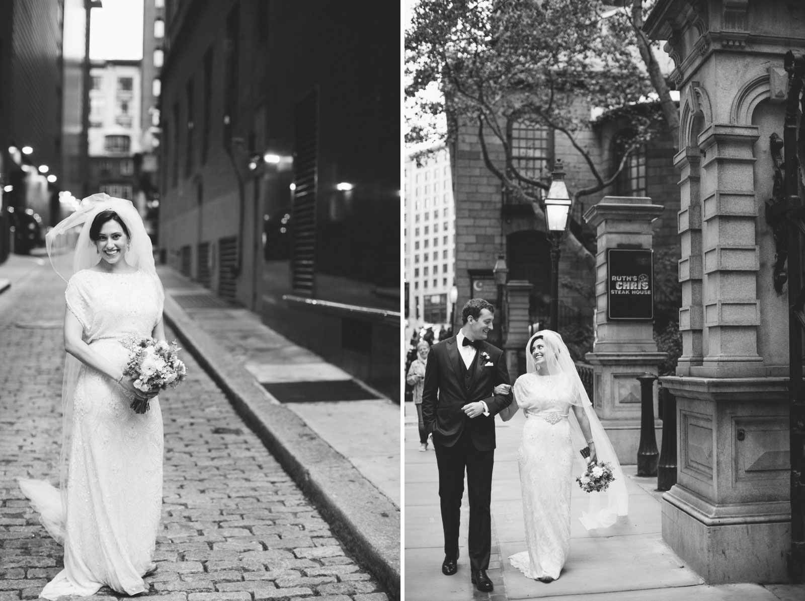 bride and groom walk down the streets of Boston together after their vintage wedding ceremony