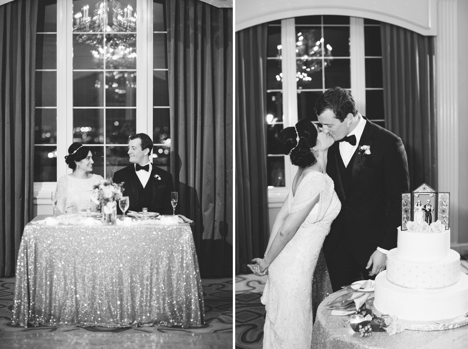 black and white shots of bride and groom sitting at sweetheart table and kissing in front of cake