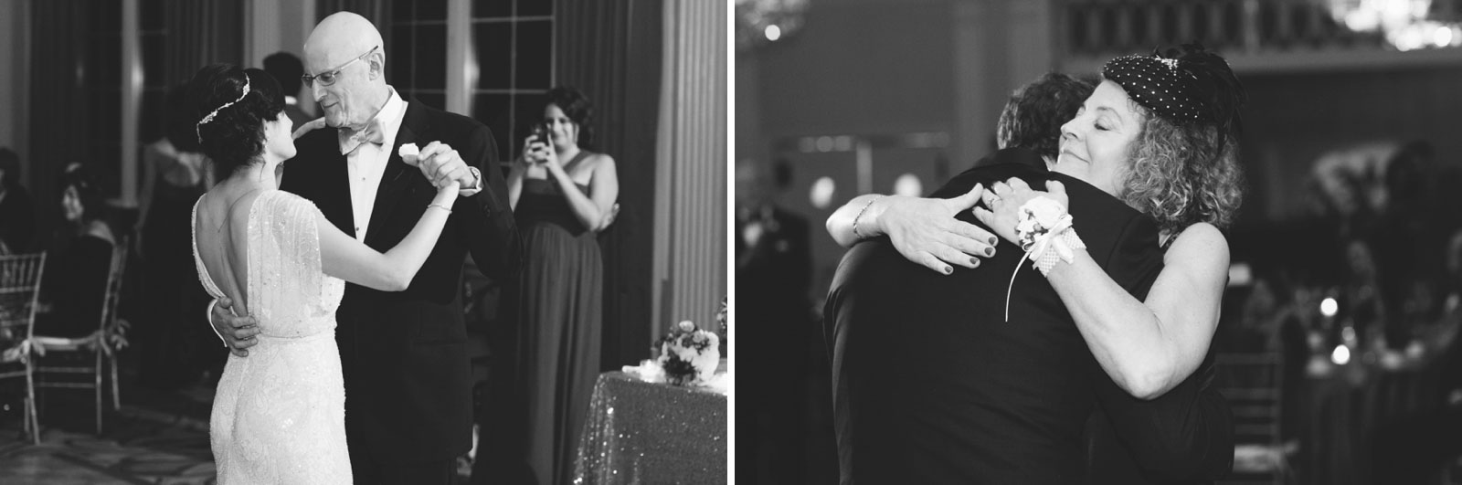 intimate black and white shots of father-daughter dance and mother-son dance during vintage wedding